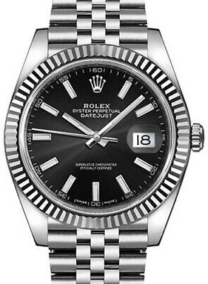 $ CDN13044.77 • Buy Rolex Datejust 41 Steel & 18k White Gold Black Dial Watch & Box 126334