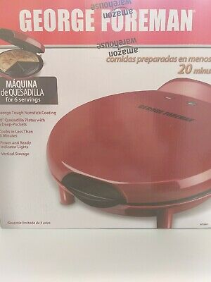 $45 • Buy George Foreman Electric Quesadilla Maker Red GFQ001 High Quality Durable