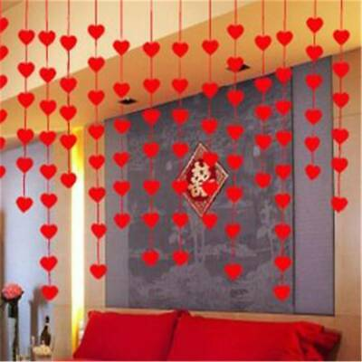 Red Love Heart Bunting Garland Decoration Valentines Day Wedding Party Banner 8C • 1.70£