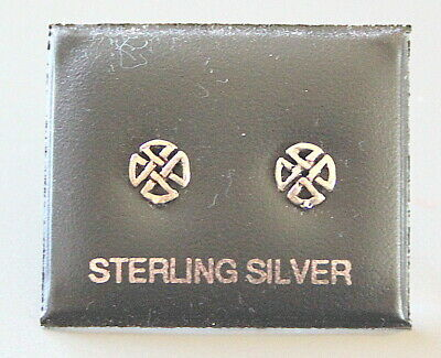 Sterling Silver 925 Stud Earrings With A CELTIC Design Butterfly Backs Boxed • 3.99£