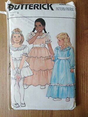 £4.50 • Buy Butterick 6324 Girls Frilly Ruffle Party Bridesmaid Dress Sewing Pattern