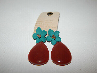$ CDN29.18 • Buy Earrings Flower Anthropologie Tear Drop Turquoise Chocolate Dangle Drop Nwt $44