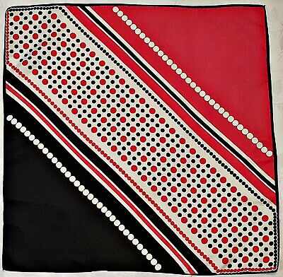 £11.14 • Buy Scarf Vintage Authentic Polka Dot Striped Red Blue Silk 27  Square Women's