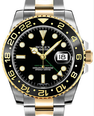 $ CDN17324.01 • Buy Rolex GMT-Master II 18k Gold & Steel Ceramic Automatic Watch Box/Papers V 116713