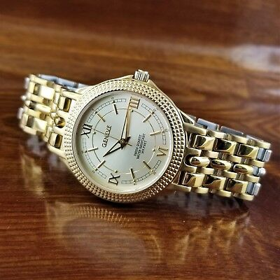 $250 • Buy Mens Geneve Swiss Made 14K Gold Plated Coin Edge Bezel Watch 165' WR