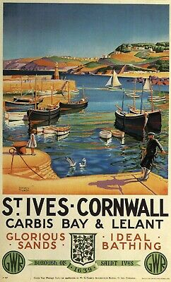 £8.99 • Buy St Ives Cornwall  (2)  Vintage GWR/LMS Railway Poster Various Sizes