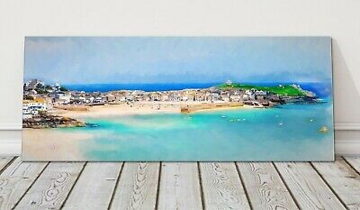 £24.95 • Buy St Ives Harbour Panoramic Painting Canvas Print Cornwall Framed Picture