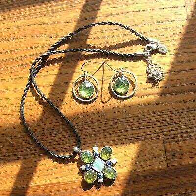 $ CDN35.02 • Buy Lia Sophia Bloommates MOP Necklace & Earrings W/ Pearls Peridot  & Blue Stones
