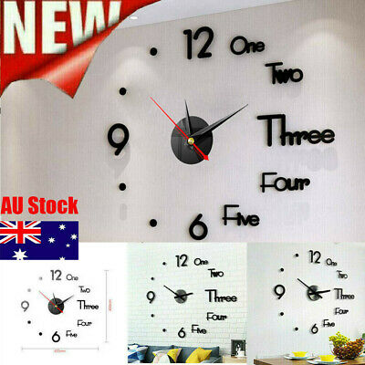 AU16.99 • Buy Large Wall Clock Big Watch Decal 3D Stickers Roman Numerals DIY Wall Modern Home