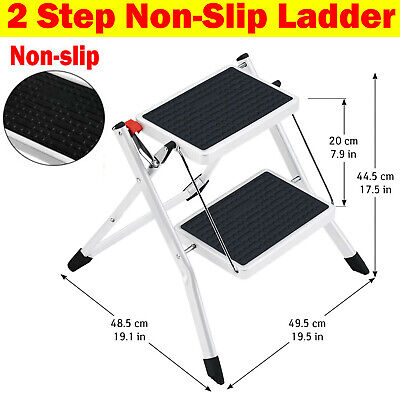 2 Level Step Stool Ladder Non Slip Safety Tread Folding Home Indoor Outdoor Used • 25.80£