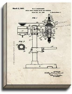 AU249.55 • Buy Drill Press Patent Canvas - Old Look