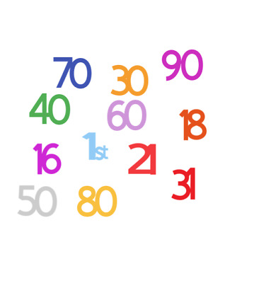Birthday Table Confetti Any Age Pack Of 50 Various Colours Gold, Silver, Pastels • 4.72£