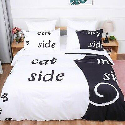 Cat&My Side Duvet Cover Couple Bedding Set Quilt Cover Pillow Cases Double King • 23.99£