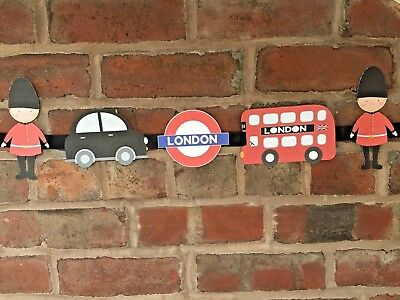 £7.99 • Buy London Theme Bunting Underground Bus Taxi Soldiers Children's Bedroom, Playroom