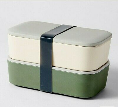 AU12.95 • Buy Stackable Bento Lunch Box With Silicone Strap Khaki And Beige.