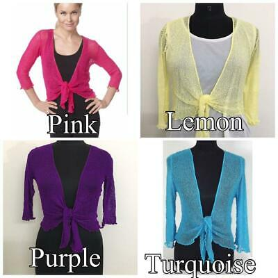 Women Tie Up Open Front Shrug Ladies Knitted Cropped Bolero Short Cardigan Top • 8.99£