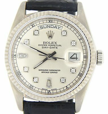 $ CDN14672.83 • Buy Rolex Day-Date 18039 Mens Solid 18K White Gold Watch Silver Diamond Dial