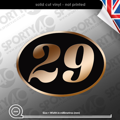 $9.60 • Buy Oval Number Italic Sticker Vinyl Decal 2x 60x75mm Classic Cafe Racer 2112-1119
