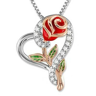 $6.99 • Buy Rose Flower Heart Pendant Necklace Gift For Mom Wife Daughter Jewelry Birthday