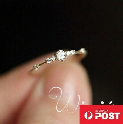 AU3.79 • Buy Rosegold Silver Crystal Engagement Wedding Ring