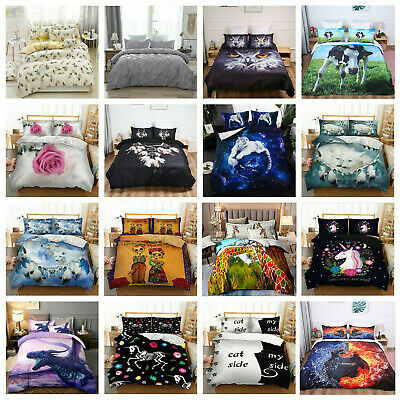 Duvet Quilt Cover Animal Skull 3D Bedding Set Pillowcases Single Double King Hot • 19.94£