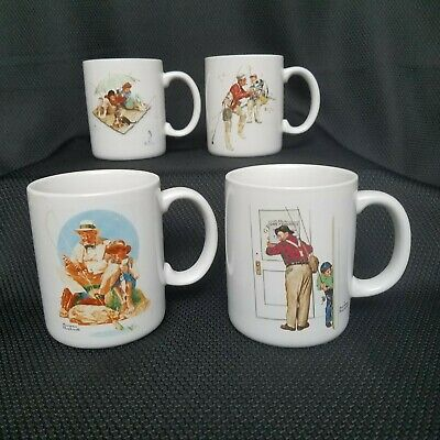 $ CDN41.40 • Buy Norman Rockwell Museum Collections 4 Fishing Mugs Trout Paradise Big One Closed