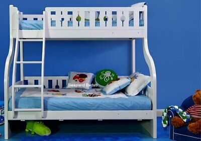 White Wooden Triple Bunk Bed - Luxury Solid Pine Wood - New Double Bunks • 725£