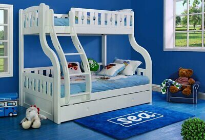 White Double Bunk Beds With Trundle - Luxury Solid Pine Wood - New Double Bunks • 825£