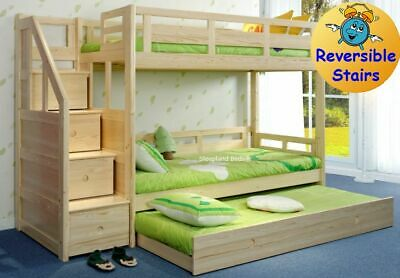 Luxury Single Pine Wooden Bunk Bed With Trundle Guest Bed • 919£