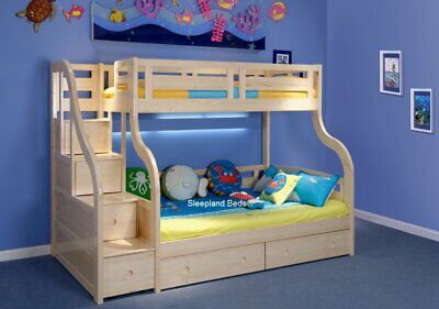Pine Wooden Triple Staircase Bunk Beds With Storage Drawers -Stairs With Drawers • 905£