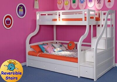 Luxury White Wooden Triple Bunk Bed With Drawers - Staircase - Solid Pine Wood • 915£