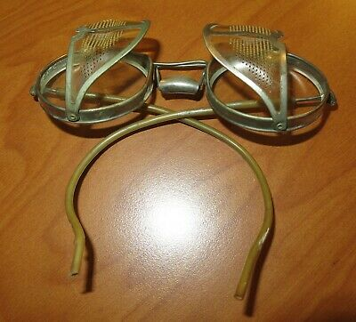 $30.25 • Buy OLD Steampunk Safety Glasses Goggles Metal Clear Lens Side Shields Burning Man