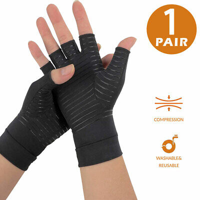$15.96 • Buy Fingerless Carpal Tunnel Gloves For Relieve Pains & Computer Typing - Black, L