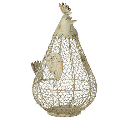 Country Style Grey Chicken Hen Kitchen Storage Wire Egg Basket Holder • 29.95£