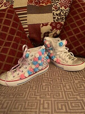 Wedding Converse Customised Swarovski White High Tops Canvas Trainers Size 6 • 64.95£