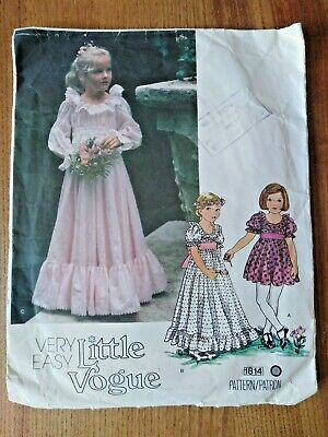 Little Vogue Girls Puff Sleeve Dress Party Bridesmaid Flower Easy Sewing Pattern • 4.50£
