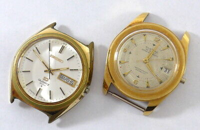 $ CDN50 • Buy 2 Vintage Men's Watches For Parts: SEIKO SQ 4004 - SUNTIME Super Automatic 25j