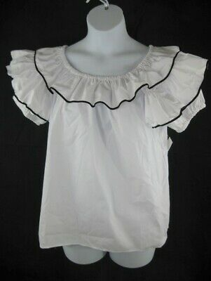 $19.99 • Buy Square Dance Blouse S L XL White Contrasting Trim MALCO MODES 112 Short Sleeve