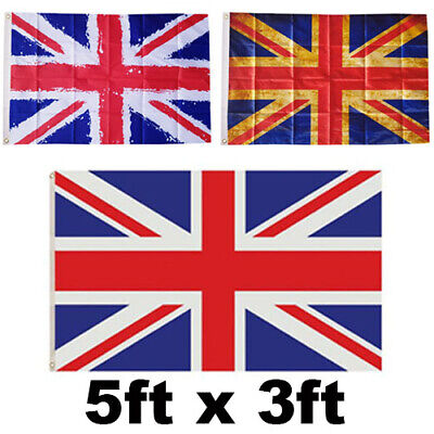 Large 5x3ft Union Jack Flag Red White Blue Great Britain British Ve Day • 2.99£