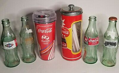 $7.99 • Buy Vintage Coca Cola Lot Of Bottles Tumbler And Straw Dispenser Collectables