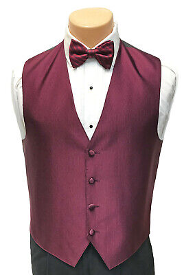 $ CDN11.38 • Buy Men's Burgundy Wine Tuxedo Vest & Tie Set Bow Or Long Formal Wedding Groom Prom