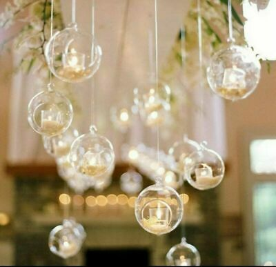 £9.99 • Buy CLEAR HANGING GLASS BAUBLE BALL X6. Tealight Candle Holder 6. Home Decor