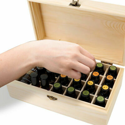 AU19.99 • Buy Essential Oil Storage Box Wooden 25 Slots Aromatherapy Container Organiser