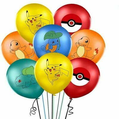 10 X Pokemon, Multi Character Printed Latex Party Balloons 12  Birthday Party • 3.99£