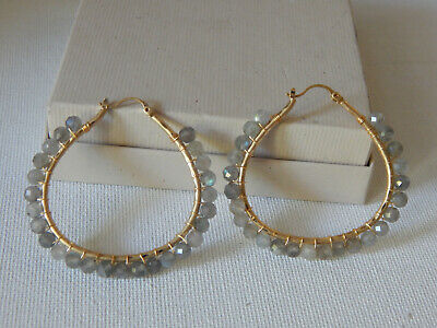 $ CDN45.85 • Buy Earrings Anthropologie Cleo Sparkle Milky Gray Labradorite Stone Nwt $54