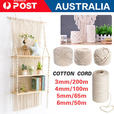 AU17.99 • Buy 3/4/5/6MM Macrame Rope Natural Cotton Twisted Cord Artisan Hand Craft 50-200M