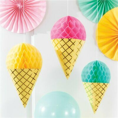 Ice Cream Cone Honeycomb Pastel Decoration Cutouts Hawaiian Sweet Birthday Party • 6.89£