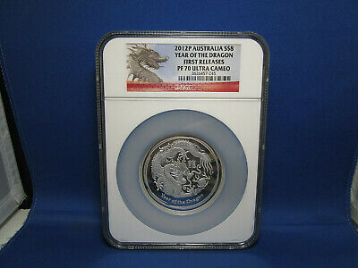 $300 • Buy 2012 Australia $8 Chinese Lunar Dragon 5oz Silver Proof Coin NGC PF70  UCAM FR