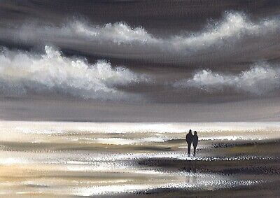 SEASCAPE WATERCOLOUR PAINTING A4 Sarah Featherstone, Evening Beach Walk, Sea ART • 34£