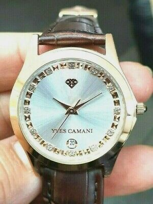 Yves CAMANI Gold Plated Twinkle  Unisex Watch With Leather Strap • 40.75£